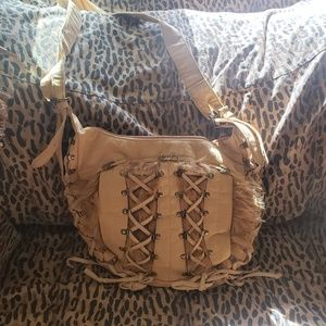 Boho festival crossbody corset lace faux fur bag